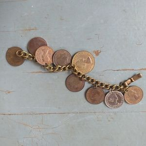 Vintage 1960s coin charm bracelet